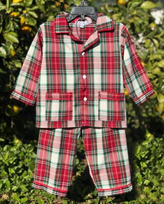 """Traditional tartans plaid pajama set in the colors of red, green, black, and ivory that is perfect for your Christmas pictures by """"Sweet Dreams""""!"""