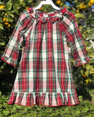"""Traditional plaid ruffled gown in the colors of red, green, ivory, and black is perfect for the holidays, visits with Santa, and Christmas morning pictures! See the matching boys set. By """"Sweet Dreams""""."""