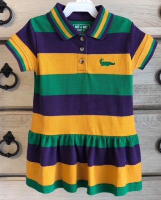 """This purple, gold, and green striped dress with an embroidered alligator is perfect for any Mardi gras celebration! By """"Me Me""""."""
