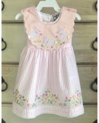 """Pink seersucker sundress with a sash in the back and pastel floral embroidery and appliques of bunnies on the detachable collar. The second picture shows the bodice once you remove the collar. Perfect for Easter and all season long! By """"Cotton Kids""""."""