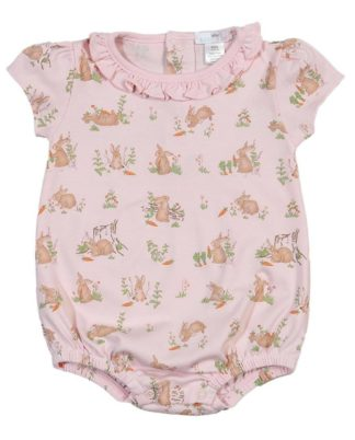 """Soft pima cotton knit bubble with bunnies by """"Baby Bliss""""."""