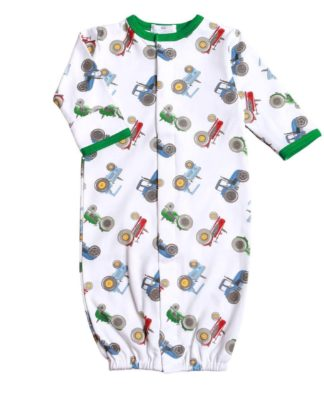 """White pima cotton knit convertible gown with tractors that can be turned into a longall by adjusting the snaps. By """"Baby Bliss""""."""