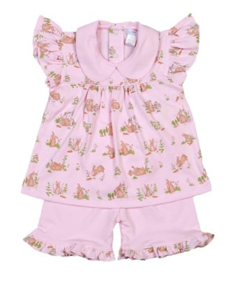 """Pink pima cotton knit bunny print short set by """"Baby Bliss""""."""