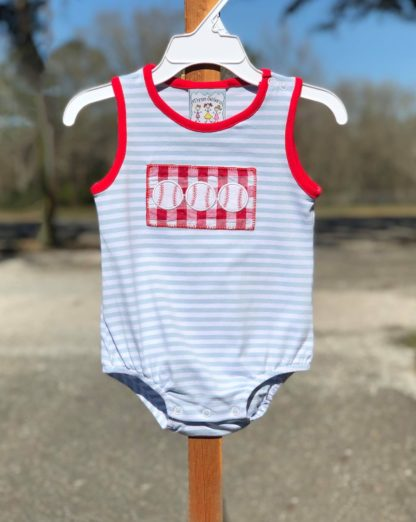 """Light blue and white striped sleeveless romper with red accents and a baseball applique' by """"Three Sisters""""."""