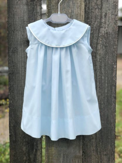 Martha sundress in light blue batiste trimmed in ivory piping. This collar is perfect for monogramming!