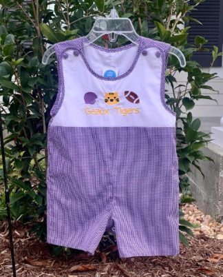 Purple and white gingham Jon Jon sunsuit with an embroidered helmet, tiger and football. Perfect for LSU football games and tailgating! Geaux Tigers! See matching girl looks!