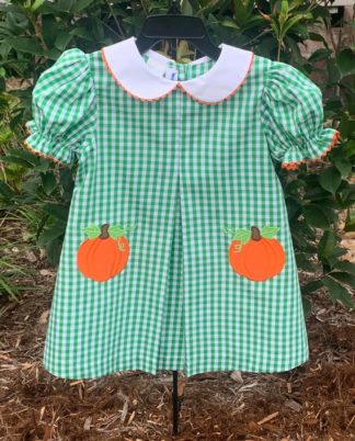 """Kelly green gingham A-line pleated dress with pumpkin applique's by """"Silly Goose for Vive La Fete""""."""