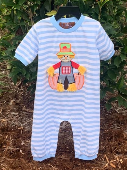 """Light blue and white striped knit longall with a scarecrow applique' by """"Millie Jay""""."""
