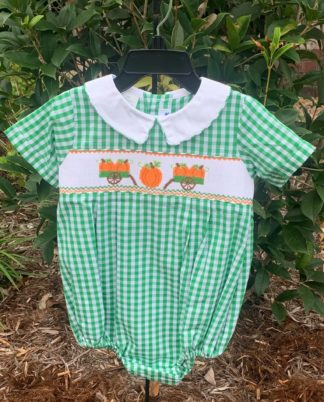 """Kelly green gingham bubble smocked with pumpkins by """"Silly Goose for Vive La Fete""""."""