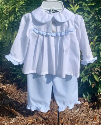 """White and blue pant set with a classic embroidered pattern on the yoke by """"Bailey Boys""""."""