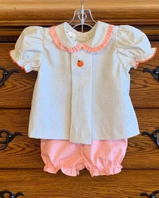 """Tan and orange gingham bloomer set with a sweet pumpkin applique' by """"Baby Blessings""""."""