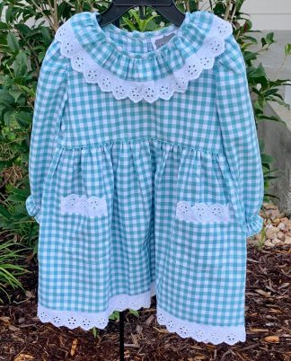 """This aqua gingham dress is so sweet with eyelet accents by """"True""""."""