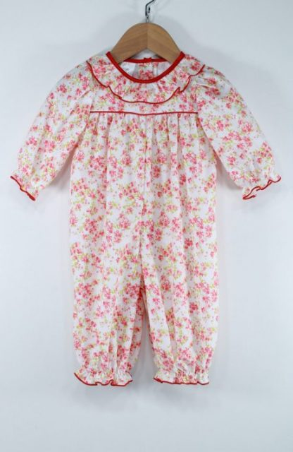 """Ivory and red vintage floral long bubble by """"Baby Blessings""""."""